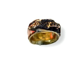 woman ring. ring contemporary virolle brass and copper ring