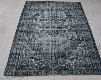 Vintage Oushak Black Handmade Area Rug 7.9 x 10.2Ft
