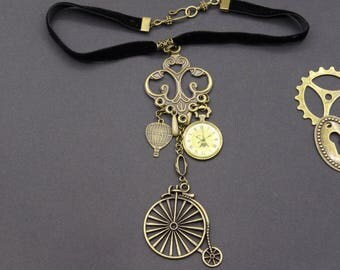 Ribbon velvet bicycle balloon steampunk watch necklace