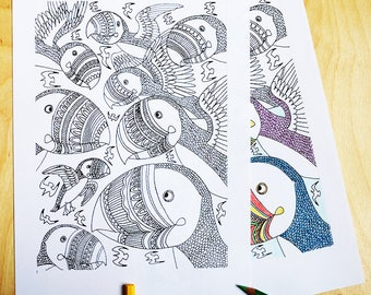 Puffin, colouring sheet, download, colouring pages, bird, feathers, wings,