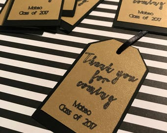 Personalized thank you gift tags black and gold// wedding gift tags// graduation thank you tags