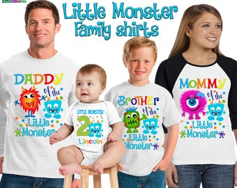 Little Monster birthday shirt/ monster shirt/ birthday boy shirt/ first birthday monster shirt/personalized little monster shirt/SCT19