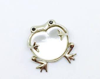 Vintage frog brooch / belly Jelly Belly clear / figural brooch