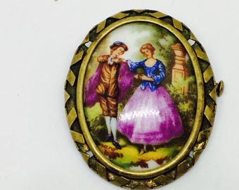 Vintage Limoges porcelain pin / romantic couple