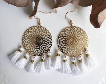 Juliet white tassel earrings