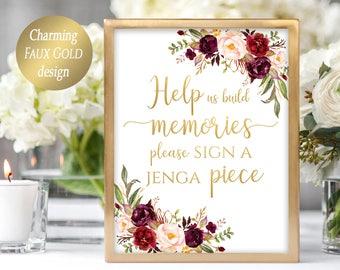 Jenga Guest Book Sign Wedding Jenga Sign Jenga Wedding Sign Guest Book Alternative Building Memories Sign Guestbook 4x6, 5x7, 8x10 Marsala