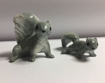 Vintage Hagen Renaker Miniature Squirrel and baby squirrel