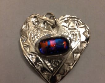Silver Heart Pendant with Dichroic Glass cabochon.