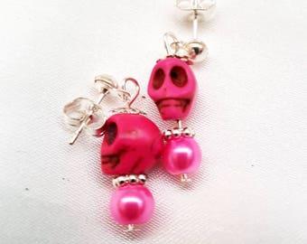 Handmade pink skull stud earrings