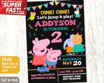 PEPPA PIG BIRTHDAY Invitation, Peppa Pig Party Invitation, Peppa Pig Invitation, Peppa Pig Invite, George Pig Birthday Invitation, v1g