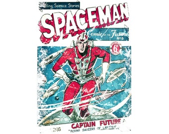 T-SHIRT: SpaceMan Comic Book Cover  - Classic T-Shirt & Ladies Fitted Tee - (LazyCarrot)