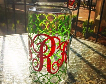 Monogrammed Pink and Green Water Bottle