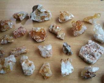 Raw and Natural Quartz / Mystery Crystal / One Hand Mined Arkansas Quartz Crystal Cluster / Tangerine and Clear Quartz / Rocks and Minerals