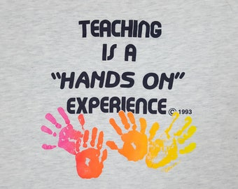 """90s Teacher shirts heather grey tshirt retro style graphic tee """"Teaching is a Hands On Experience"""" vintage t shirt short sleeve mens large"""