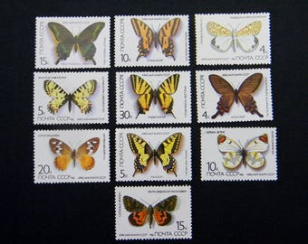 BUTTERFLY..Super set of 10 postage stamps of the USSR .. Soviet postage stamps image of butterflies