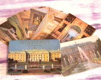"Petrodvorets..Vintage Russian Color Postcards ..Set of 16 post card ""The Great Palas"" Leningrad..Retro photos"