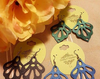 Faux Leather Vegan Leather Earrings - Foral