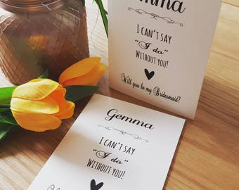 Personalised 'Will you be my bridesmaid / maid of honour / flower girl' card & envelope