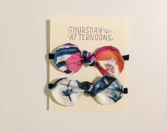 Baby Blues|nylon bow headbands: Floral headbands/navy headband/girls bow/girls headband