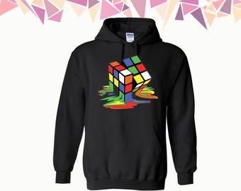 Melting Cube Hooded Sweatshirt Dripping Cube Hoodie Colorful Cube Hooded Sweatshirt Cube Hoodie Sweatshirt Sweater Hooded Sweatshirt
