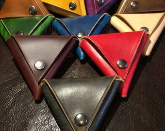 Triangular leather coin purse