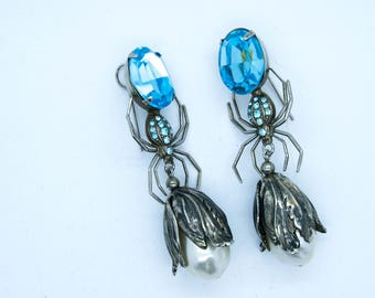 Unique Vintage Spider, Ice Blue Stone & Pearl Drop Earrings