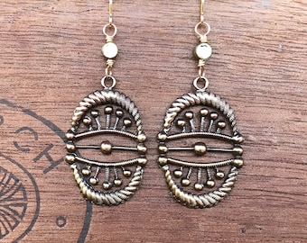 Intricate and Unusual Atomic Style Art Deco Brass Earrings with Vintage Rhinestones