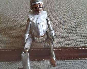 Metal cast figure of Commedia dell'arte Pulcinella - Rare