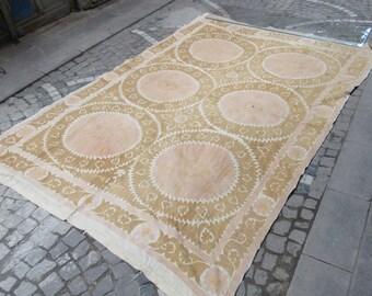 Vintage Suzani ,Suzani bedspread,Needlework Bedding,middle old suzani textile,vintage textile,uzbeksuzani cover,10'2 feet x 6'7 feet,n:77