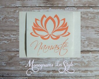 Car decal, Namaste, Truck Decal, Yeti Decal, Vinyl Decal, Laptop Decal, Girlfriend Gift, Yeti Decals for Her, Car Sticker, Lotus Flower