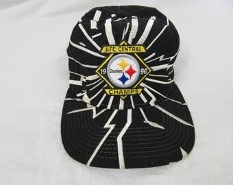 Vintage 90s Pittsburgh Steelers Starter Broken Glass Design Stained Snapback Hat Cap