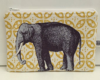 Small makeup bag; zippered pouch; elephant, safari, elephant lover, African elephant.