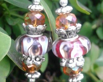 Caramel Apple Murano Bead Earrings