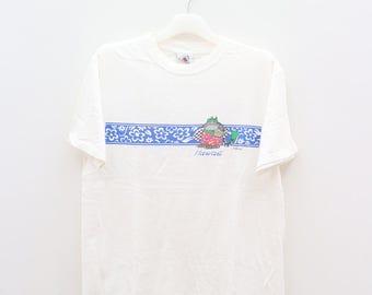 Vintage BKLIBAN Hawaii Aloha Funny Cat White Tee T Shirts Size M