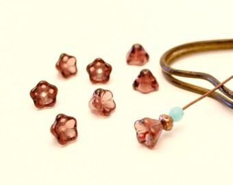 8 flower beads, Amethyst, 6mm Czech glass