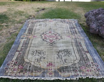Free shipping Unique Large Size Turkish Rug Oushak Rug 6.7 x 8.9 feet Pale Color Anatolian Decorative Rug Bohemian Rug Aztec Rug Code238