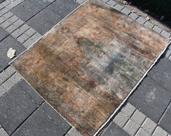 Small Size Faded Color Vintage Area Rug 3.2 x 4 feet Free Shipping Handknotted Hall Rug Bohemian Decorative Rug Rustic Floor Rug DC1268