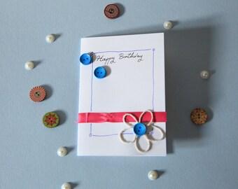 string blue flower Happy Birthday card