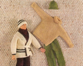 Doll Knitting Pattern Action Man Ken Outfits Jacket Hat Sweater Trousers Sweater Action Man Knitting Doll 4 Ply Instant Download