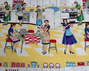 Home Ec/Domestic Scene 1950's/Kitchen/Baking on yellow/white background cotton fabric by the yard