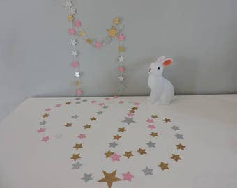paper Garland-Star 3 meters sequin gold silver