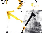 Black and yellow mini-poster about typography and communication