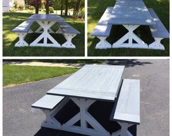 Farmhouse Dining Trestle Table | 2 Benches | Farmhouse Dining Set | Custom Built | Trestle Table Set