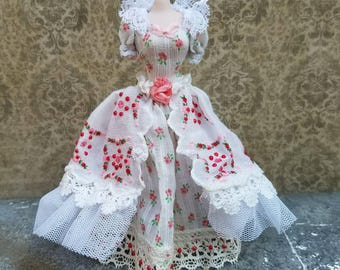 Miniature dollhouse gown made from a vintage handkerchief, 1:12