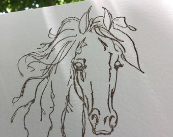 Wild horse stationery note cards, hand embossed Crane cotton paper, correspondence cards, free spirit, horse print
