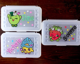 Shopkins personalized pencil box, hand painted, custom school supplies storage, back to school, shopkins party favor, shopkins storage case