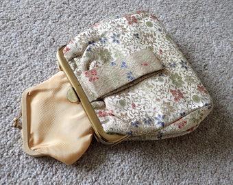 Vintage Handbag, Gold Handbag, Floral Handbag, Evening Bag, Antique Handbag, Gold Brocade Handbag, Handbag, Gifs for Her, Wedding Gift