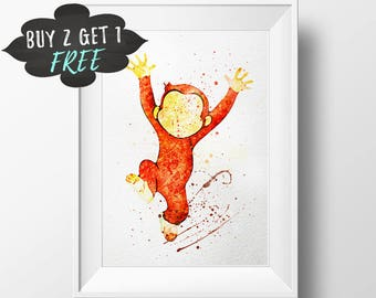 Curious George Birthday Party, Curious George Art Print Curious George Favor Decor, Curious George Theme 1St Bday Curious Monkey George Sign