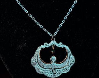 Distressed Turquoise Pendant Necklace