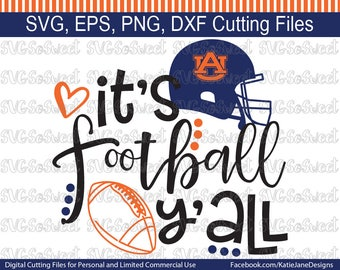 Auburn svg, AU Football svg, Its Football Yall, War Eagle svg, Tigers, SVG, Png, Eps, Dxf, Silhouette Cutting Files
